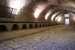 Old stables castle. Large rooms of the former stables of the medieval castle of sermoneta, now used as a concert hall, Italy royalty free stock photography