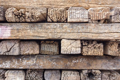 Old stack of railroad ties in thailand Royalty Free Stock Photography