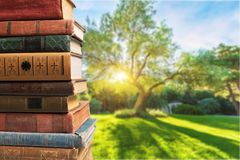 Old stacked books on blurred background. Old stacked books background paper art abstract Royalty Free Stock Photography