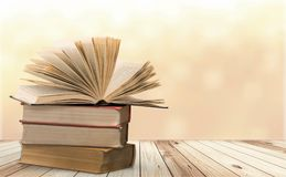 Old stacked books on light background. Old stacked books background paper art abstract Stock Photos