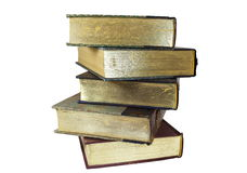 Old Stacked Books. Pile of old stacked books on white isolated background Stock Photography