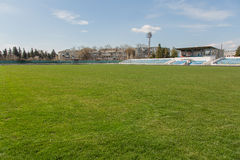 Old stadium tribune. Industrial architecture shot with empty old stadium blue tribune Royalty Free Stock Photos