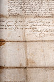 Old stained French manuscript Stock Photo