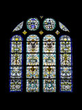 Old stained glass decorated of Saint Eustache in Paris Stock Images