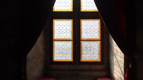 Old stained glass and decorative curtains stock footage