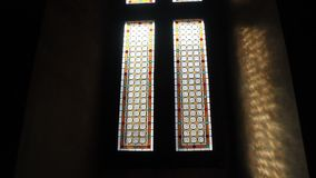 Old stained glass stock video footage
