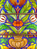 Old stained-glass window. Old color stained glass window Stock Photo