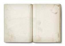 Old stained open book Stock Photography