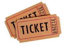 Old movie ticket pair isolated white background Royalty Free Stock Photos