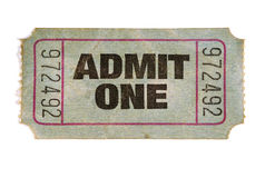 Old stained torn admit one ticket, white background Royalty Free Stock Photo