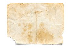 Old Stained and Torn Paper on White.  Royalty Free Stock Image