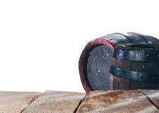 Old stained wine or beer barrels Stock Photo