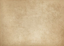 Old stained and yellowed paper texture. Aged yellowed rough paper background for the design Stock Image