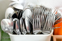 Old stainless Spoon and stainless fork Royalty Free Stock Image