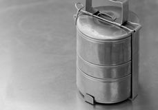 OLD STAINLESS STEEL LUNCH BOX Stock Photo