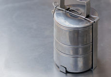 OLD STAINLESS STEEL LUNCH BOX Royalty Free Stock Photography
