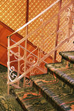 Old stair. Old style stairs with carpet retro look Stock Photos