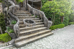 Old stair in the garden. Royalty Free Stock Images