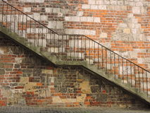 Old stair near wall Royalty Free Stock Photo