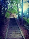Old stair to shinto shrine, Sado island, Japan stock images