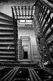 Old staircase in an abandoned house Stock Photo