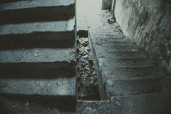 Old staircase in abandoned house. Royalty Free Stock Photography