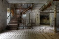 Old Staircase In An Abandoned Hall Royalty Free Stock Photos