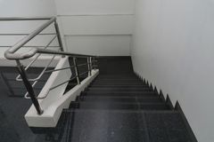 Free Old Staircase With A Handrail In A Building., In The Office Stock Image - 112041031