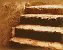 Old stairs. Old vintage stairs on grunge paper texture royalty free stock images