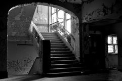 Old stairs in abandoned building Royalty Free Stock Image