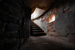 Old stairs in the castle tower Royalty Free Stock Images
