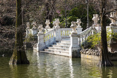 Old stairs at the Crystal Palace in Madrid, Spain Royalty Free Stock Photos
