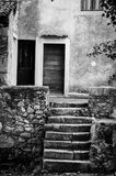 Old stairs and door at Beli in Cres island Stock Photo