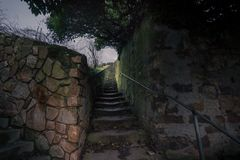 Old stairs. Johannisberg, Hessen, Hermany. Old outdoor stone stairs Royalty Free Stock Images