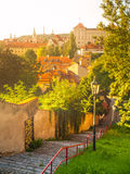 Old stairs leads to medieval district of Novy Svet, Hradcany, Prague, Czech Republic Royalty Free Stock Image