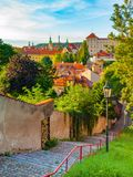 Old stairs leads to medieval district of Novy Svet, Hradcany, Prague, Czech Republic Stock Image