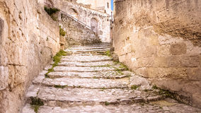 Old stairs of stones, the historic building in Matera in Italy UNESCO European Capital of Culture 2019 Royalty Free Stock Image