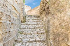 Old stairs of stones, the historic building near Matera in Italy UNESCO European Capital of Culture 2019 Royalty Free Stock Image