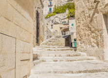 Old stairs of stones, the historic building near Matera in Italy UNESCO European Capital of Culture 2019 Stock Images