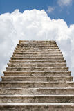 Old stairway to the clouds. Old historical stairway going to the sky with clouds Royalty Free Stock Photography