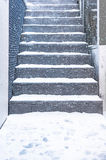 Old stall close texture round stair with snow Royalty Free Stock Images