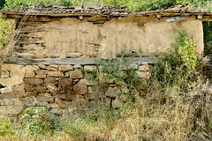 Old stall in Serbian village. Endangered agriculture, abandoned houses. Poor depressed area Royalty Free Stock Photography