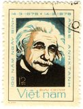 Old stamp with Albert Einstein. Old stamp with famous physicist of Albert Einstein Royalty Free Stock Image