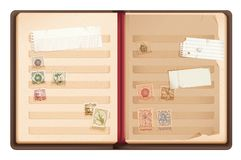 Old Stamp book.Philately album Royalty Free Stock Photo