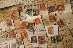 Free Old Stamps Royalty Free Stock Photo - 9944705