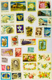 Old Stamps Collection on the White Paper Stock Image