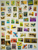 Old Stamps Collection on the White Paper Royalty Free Stock Photos