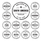 Old stamps with the name of the South American countries. Royalty Free Stock Images