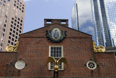 The Old State House. And its surrounding buildings, found along the freedom trail, Boston, USA.  It is the seat of the British Government before Independence Royalty Free Stock Photo