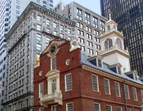 Old State House in Boston. Is a colonial building and the Declaration of Independence was read from its balcony in 1776 Royalty Free Stock Image